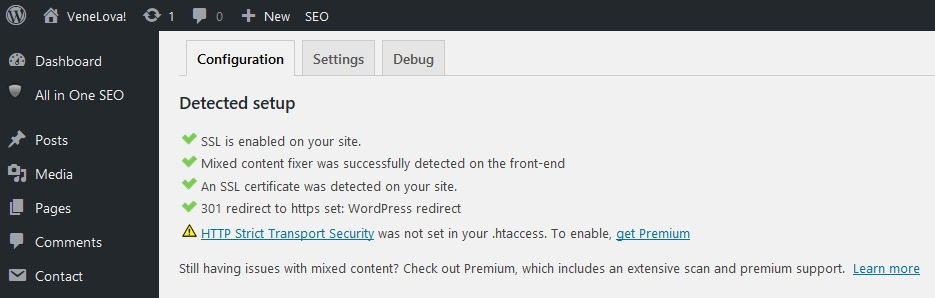 really simple SSL plugin wordpress configuration setting